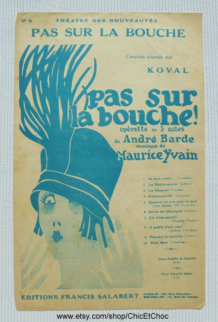 French 1920's Song / Sheet Music - 'Pas Sur La Bouche' (Not On The Mouth) by ChicEtChoc on Etsy