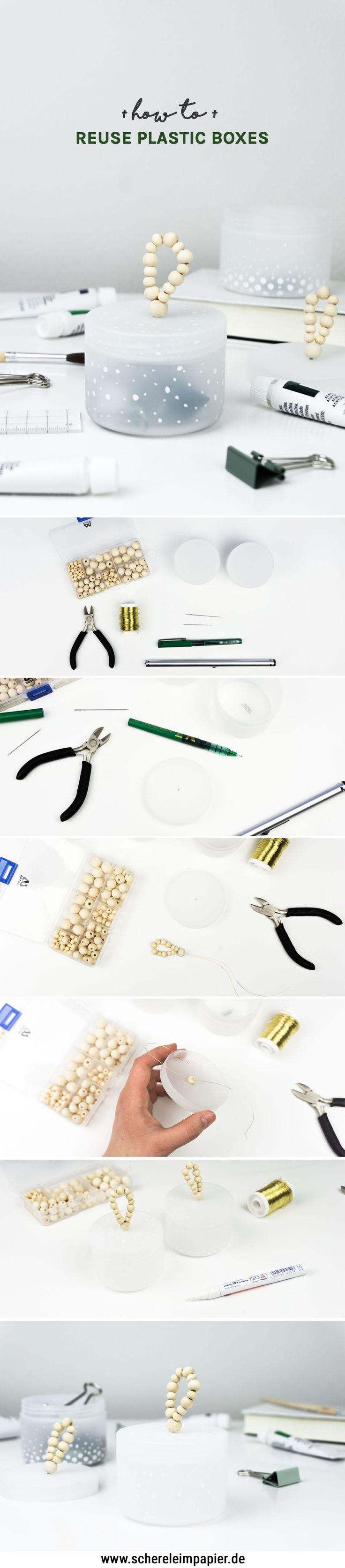 DIY Deko / DIY Wohnen: Upcycling Idee aus leeren Kosmetiktiegeln | Mit Hilfe von Holz & Markern werden Plastikdosen in niedliche Boxen für das Bad, den Schreibtisch oder die Küche verwandelt. Tutorial auf dem Blog! | DIY Aufbewahrung selber machen | Basteln | Holzperlen | Recycling | Plastic Boxes | Crafting | #diy #upcycling