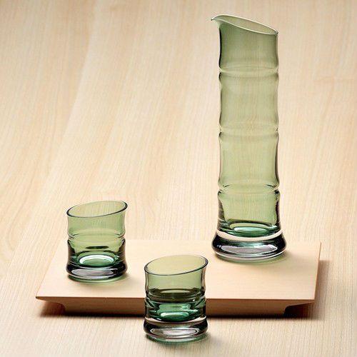 日本製 酒器三点揃い BAMBOO SERIES 青竹/氷竹ガラス ぐい飲み ぐいのみ おちょこ お猪口 徳利 とっくり トックリ しゅき 酒器 結婚祝い…