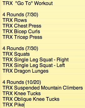 "All TRX workout.  This is the workout we do when we just want to ""get it done"".  Full body workout and the core round is TOUGH.  You can change the intensity by increasing/decreasing the rest time between rounds.  Have fun! #trx"