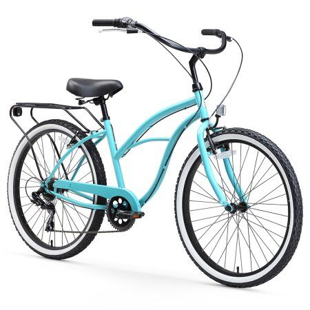 26 inch sixthreezero Around The Block Seven Speed Women's Beach Cruiser Bike, Teal Blue