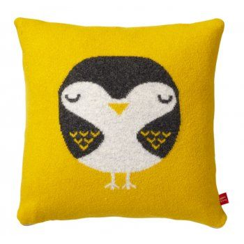 Donna Wilson Knitted Robin Cushion - Mustard - Donna Wilson from eggcup & blanket UK