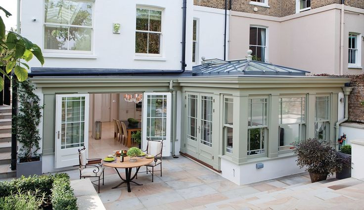 Conservatory in Farrow and Ball French Gray.  French grey in the sun can look a little washed out. Be warned!