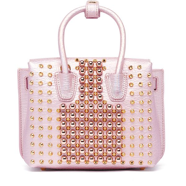 MCM Milla Pearl Studs Tote ($1,450) ❤ liked on Polyvore featuring bags, handbags, tote bags, tote handbags, pink tote bags, mini tote, mini handbags and mcm tote bag