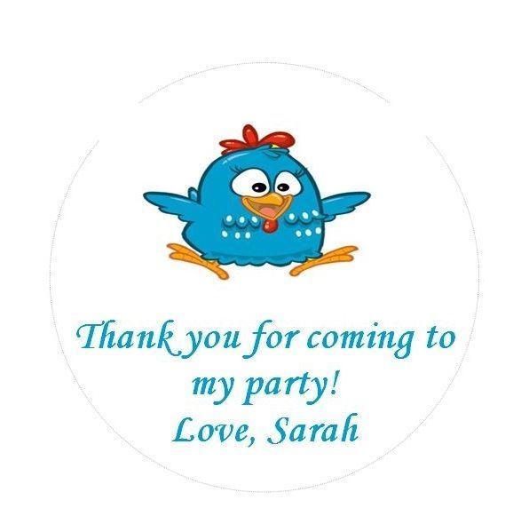 Personalised Birthday Stickers Lottie Dottie Chicken 40mm (24)