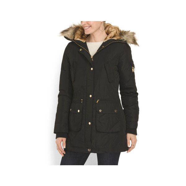Coated Parka With Faux Fur ($80) ❤ liked on Polyvore featuring outerwear, coats, faux fur trim hooded coat, lined parka coat, fake fur coats, faux fur trim hooded parka and faux fur parka