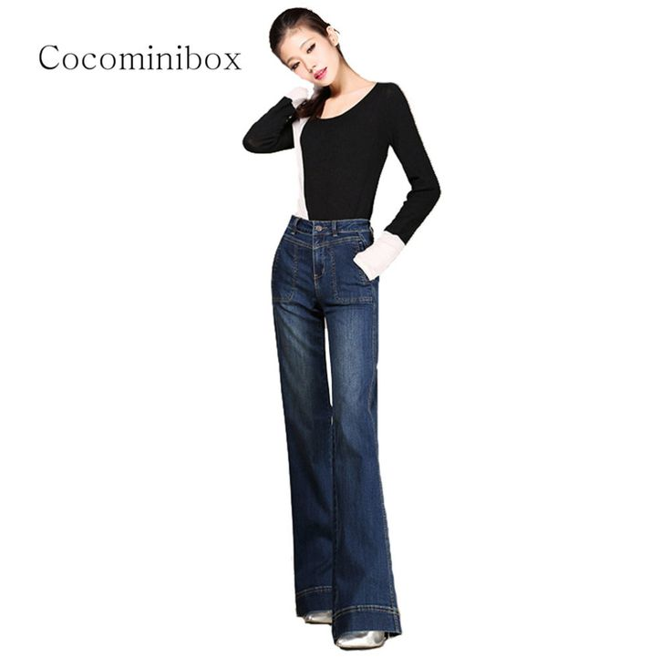 ==> [Free Shipping] Buy Best Women Classic Elastic Relaxed Fit Straight Flare Pants Regular Retro Office Bootcut Jeans Plus Size Online with LOWEST Price | 32792720442