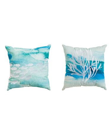 Another great find on #zulily! Coral-Themed Burlap-Backed Pillow - Set of Two #zulilyfinds