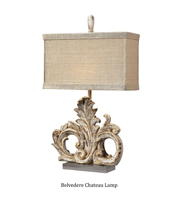 Belvedere Chateau Lamp. Fleur de lis lamp in crackle finish with trendy boxed shade. DesignNashville
