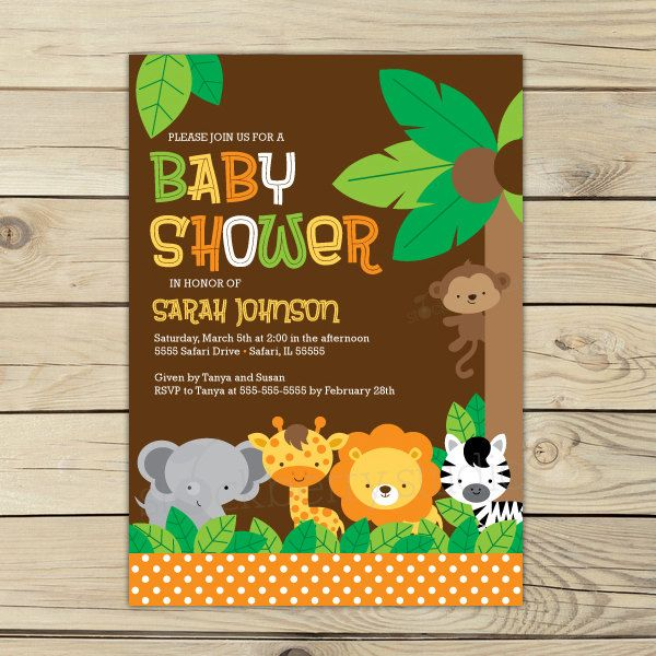 Safari Baby Shower Printable Jungle Animals Invitation party 5x7 invitation $10