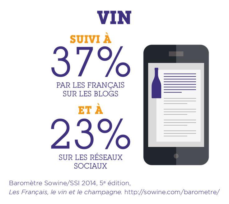 Le vin est suivi à 37% par les Français sur les blogs et à 23% sur les réseaux sociaux. Source : Baromètre Sowine/SSI 2014, 5ème édition, Les Français, le vin et le champagne