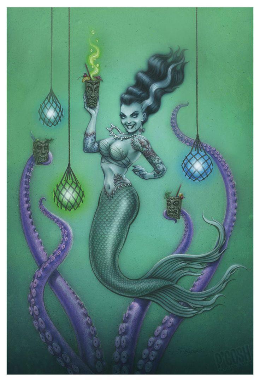 Purple Leopard Boutique - Franken Mermaid by P'gosh Frankenstein Monster Tattoo Art Print, $24.00 (http://www.purpleleopardboutique.com/franken-mermaid-by-pgosh-frankenstein-monster-tattoo-art-print/)