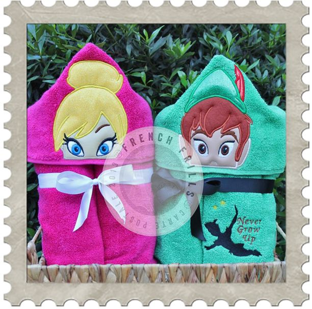 Fairy Princess & Neverland Boy hooded towel designs. #Embroidery #Applique
