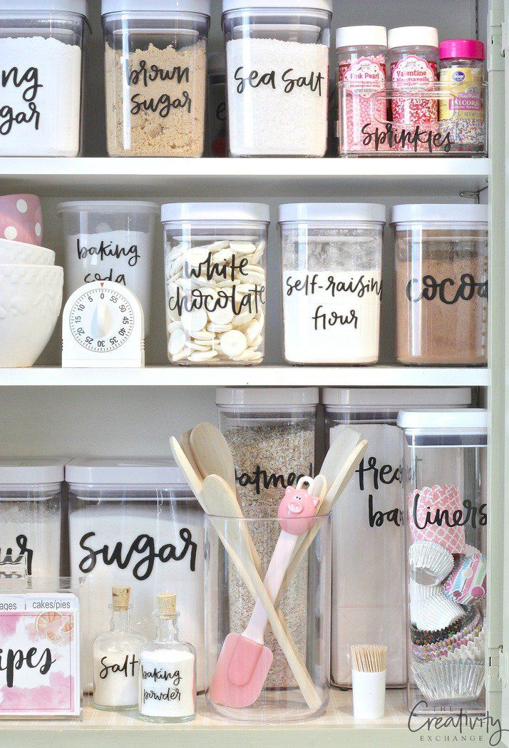 Use our free printable pantry labels that are hand lettered with almost every possible item found in the pantry. Print on clear label paper. #idea #palets #pallets
