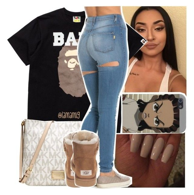 """""""watching catfish."""" by lamamig ❤ liked on Polyvore featuring A BATHING APE, Michael Kors and UGG Australia"""