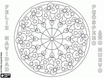 Greeting Card Christmas And New Year With Candles Mandala In Spanish Or Castilian Coloring Page