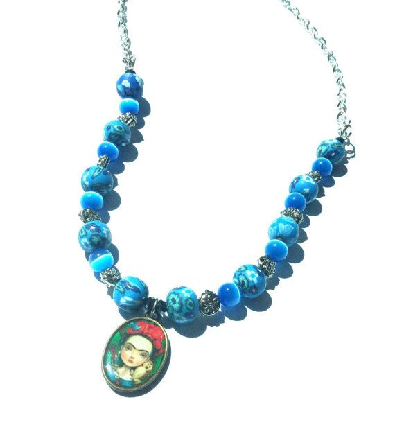 Frida Kahlo necklace blue polymer clay beaded with pendant