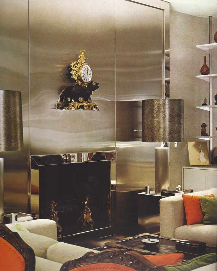 Paris apartment of Francois Catroux...love this chromatic looking wall..#want for behind my bar area <3