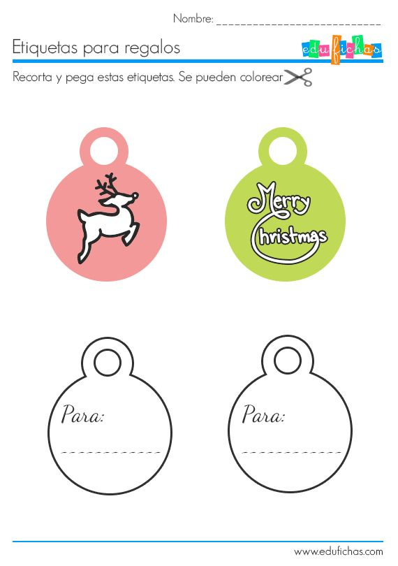 etiquetas de navidad recortables