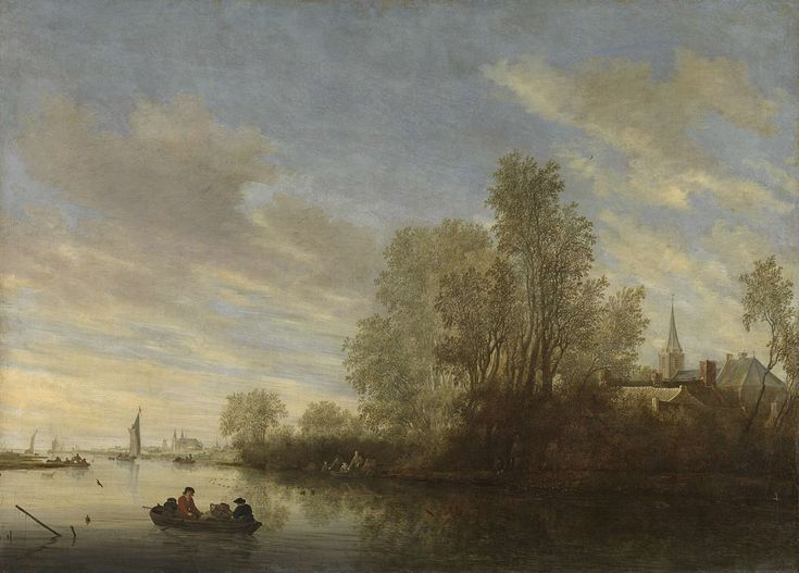 River view near Deventer, Salomon van Ruysdael, 1645  oil on canvas, h 110cm × w 151.5cm  Once again, the gleam/shine on the lake is am important part if this painting.  It shows time of day and adds to the peacefulness.  This would not have occurred if the artist had used pencil.