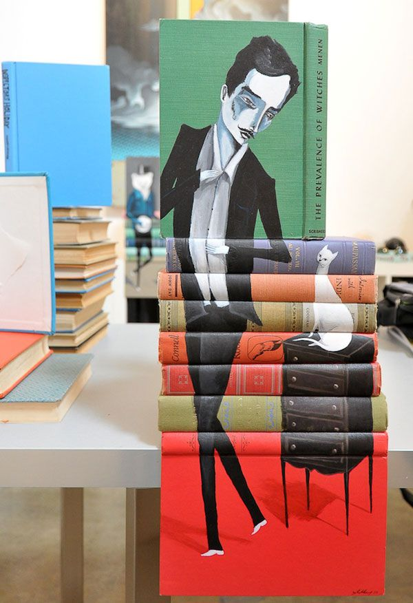 Book painting by Mike Stilkey books paintings