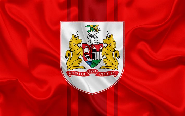 Download wallpapers Bristol City FC, silk flag, emblem, logo, 4k, Bristol, England, UK, English football club, Football League Championship, Second League, football