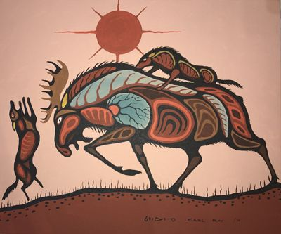 Moose Being Attacked by Two Wolves by Carl Ray kp