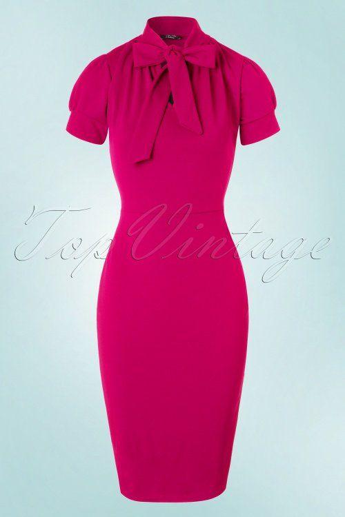 Vintage Chic 50s Bonnie Dress in Magenta dark fuchsia pink jurk jaren 50 stijl donker roze