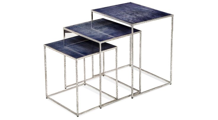 The two-piece Maci Rectangular Nesting Tables set, available in two colorways, is especially appropriate for modern and art deco spaces.