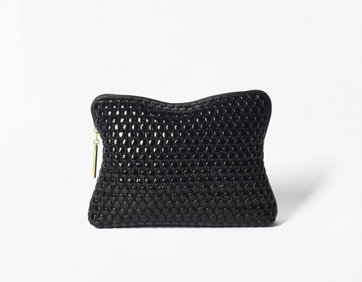 '31 minute' cosmetic zip in Black Quilted Bubble