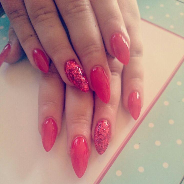 Red glitter acrylic stiletto nsi nails