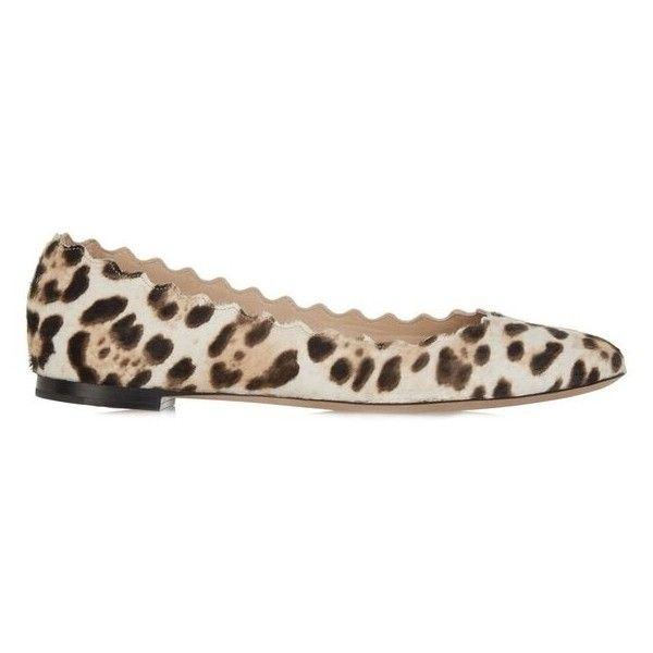 Chloe Lauren Leopard Scallop Flats found on Polyvore featuring shoes, flats, kirna zabete, leather flats, round cap, leather flat shoes, chloe shoes and flat shoes
