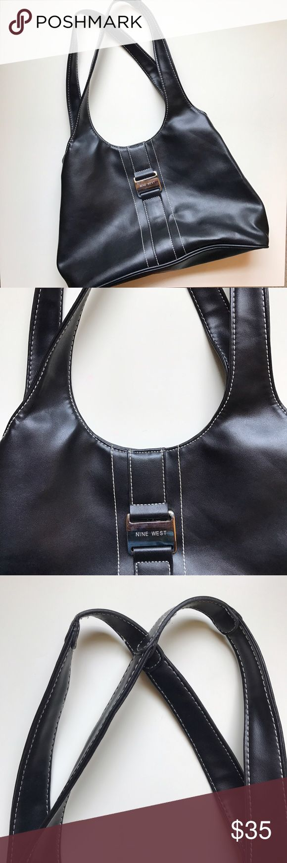 Nine West Purse •Nine West Purse •Black with White Stitching •2 Separate Compartments •Includes a Zipper Pocket and 2 Regular Pockets •Snap Closure Nine West Bags Shoulder Bags