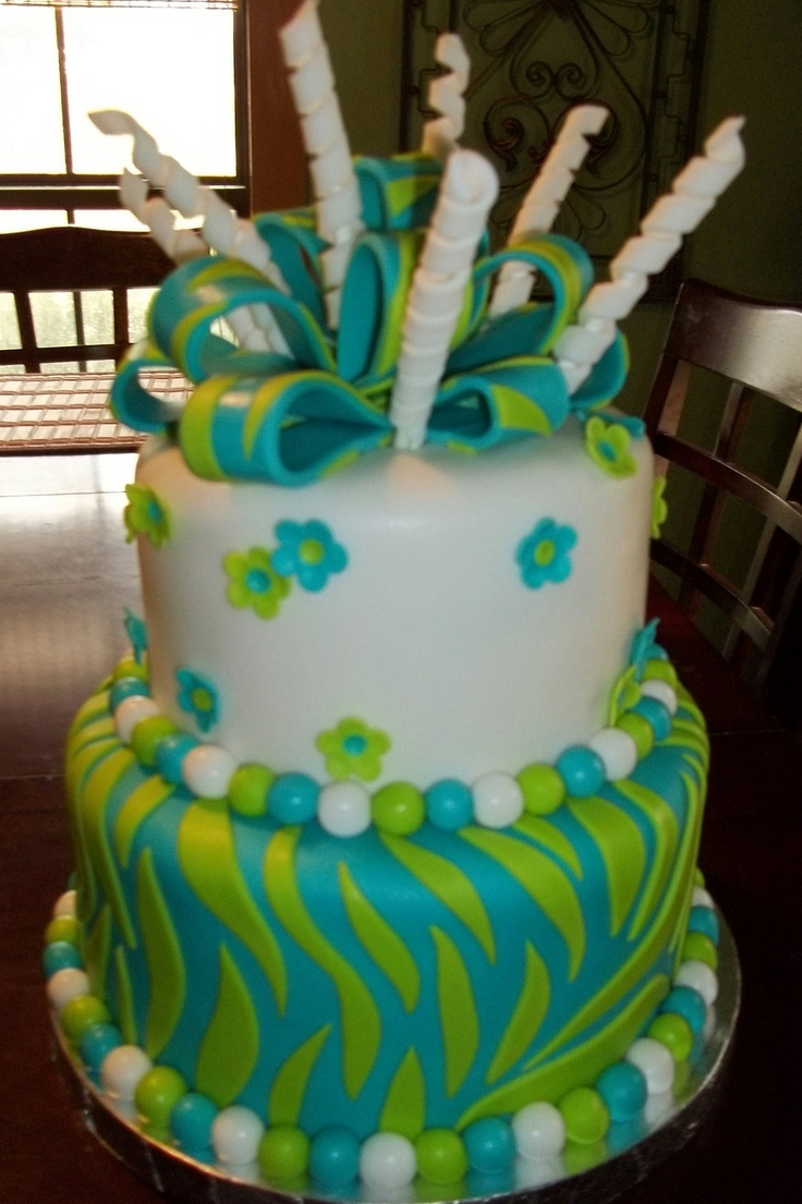 Green Blue Zebra Birthday Cake