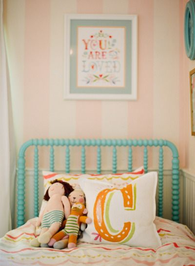 Jenny Lind bed, pink and white stripes, Wheatfield art