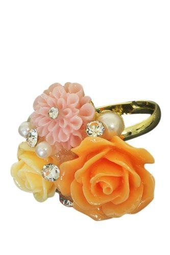 Goudkleurige verstelbare ring met strass steentjes , parels en resin bloemen - € 4,95