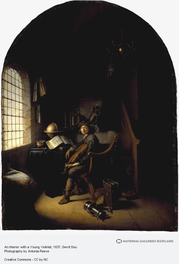Gerrit Dou: Jonge violist zittend in zijn studeerkamer. Oude titel: Zelfportret als violist. 1637. National Gallery of Scotland, Edinburgh. Dit is het oudst gedateerde werk van Dou. De violist moet van goede maatschappelijke positie zijn. Dit valt af te lezen aan zijn bezigheden, mantel, degen, sporen aan zijn laarzen. Dou's begaafdheid als stillevenschilder komt prachtig tot haar recht in de weelde van voorwerpen die het model omringt. De geleerde jongeman wordt bij het musiceren afgeleid.