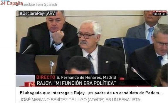 "El PP carga sobre el abogado de ADADE que interrogó a Rajoy: ""Es padre de un podemita imputado"""