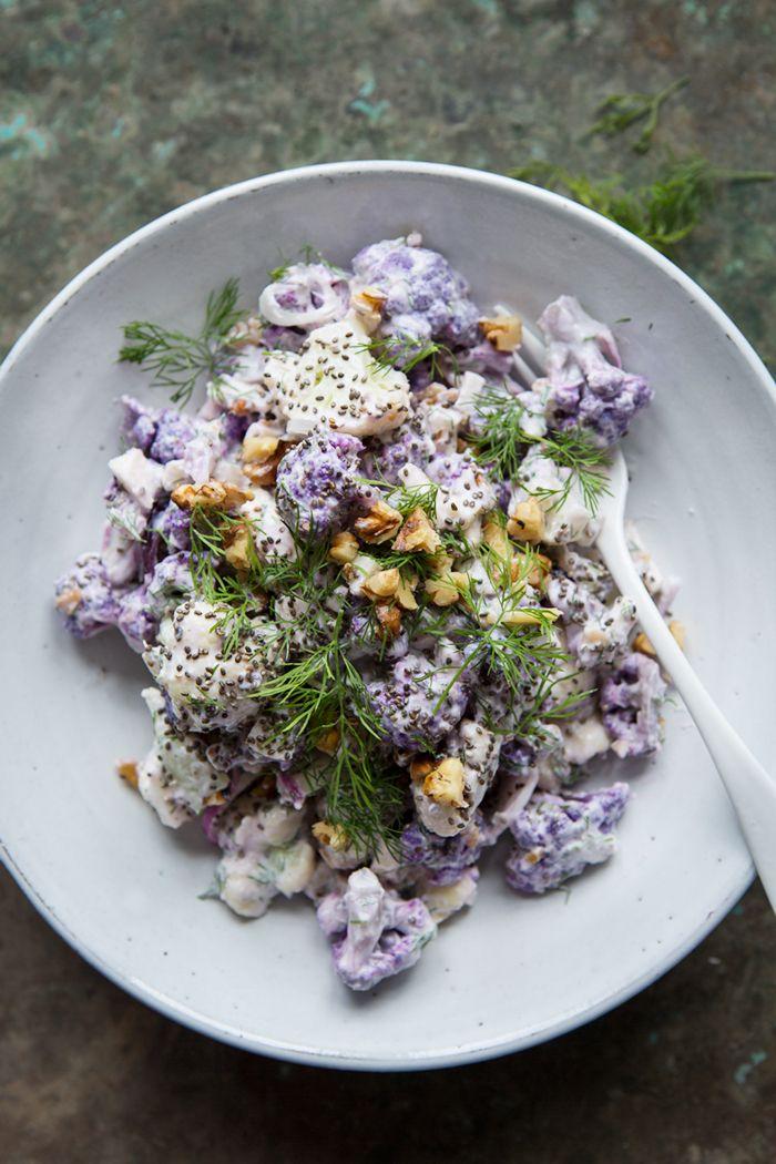 A raw cauliflower salad with horseradish, dill and yoghurt dressing