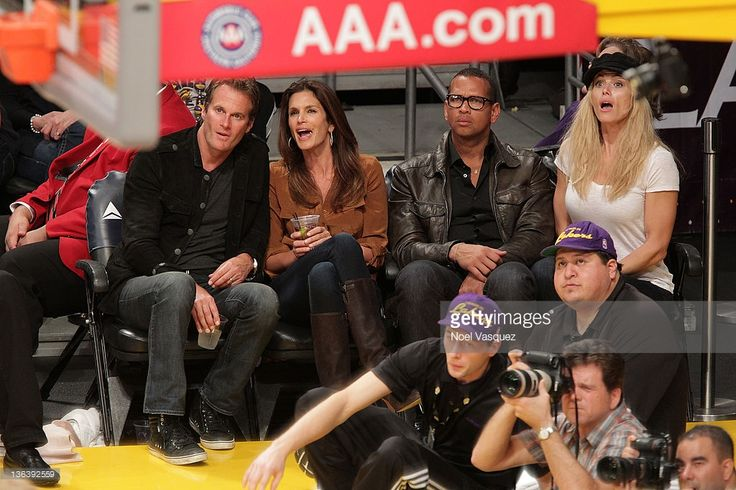 Rande Gerber, Cindy Crawford, Alex Rodriguez and Torrie Wilson attend the Los Angeles Lakers vs Houston Rockets game at Staples Center on January 3, 2012 in Los Angeles, California.