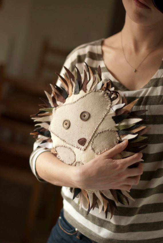 Flannel Hedgehog Pillow by Ciaobeatrice on Etsy, $50.00