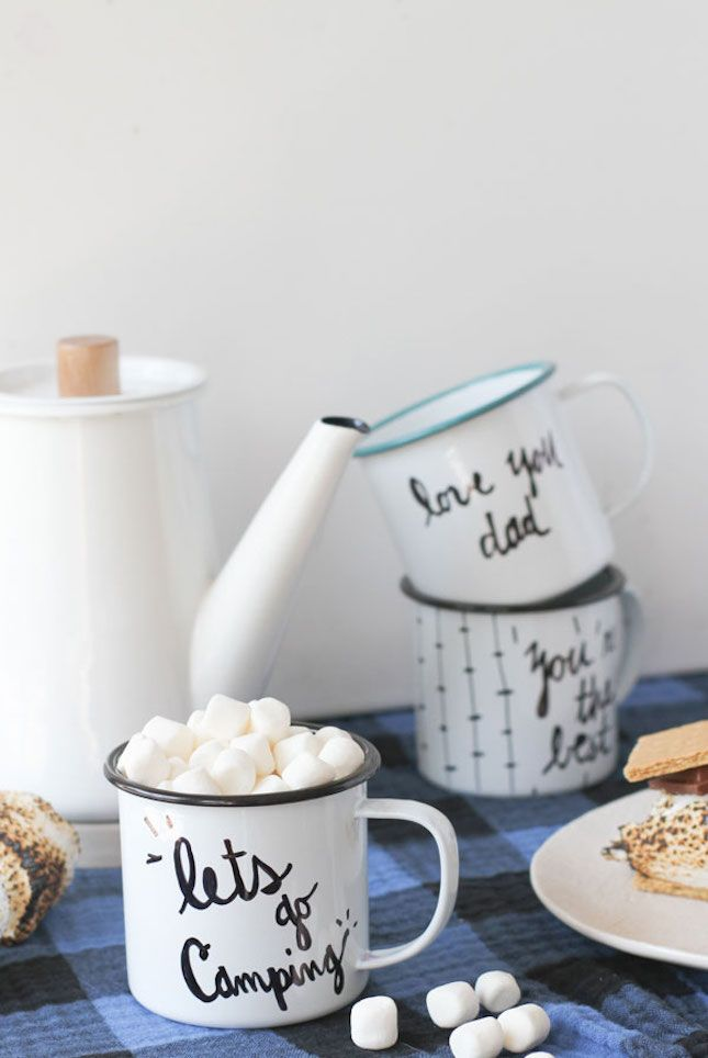 Personalized Camping Mugs: Nothing says camping more than enamel mugs and dishes. Add a little oomph to yours with some fun personalized messages.