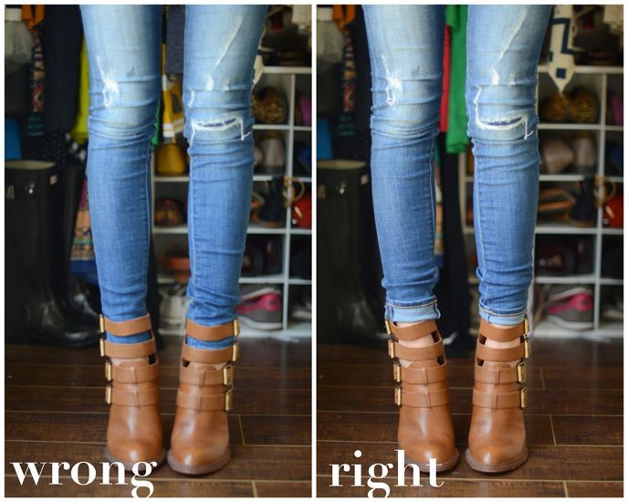 Dos and Don'ts of Cuffing Your Jeans with Ankle Boots (Part 4) -- tall ankle boots!