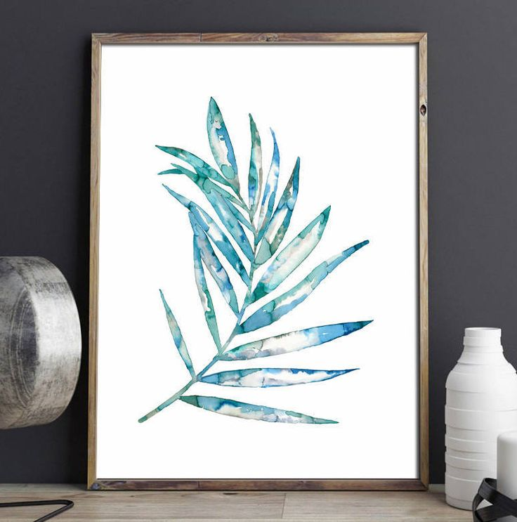 Blue fern in painting - botanical, large scale art print by purdeybarcelona on Etsy