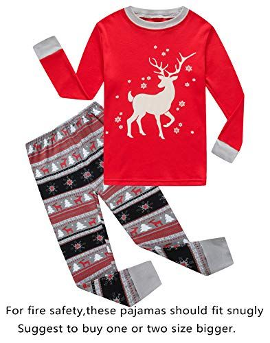 0740cc09fd Family Feeling Little Girls Boys Long Sleeve Christmas Pajamas Sets 100%  Cotton Pyjamas Toddler Kids Pjs Size 3T Reindeer
