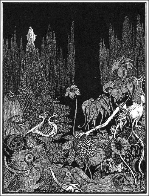 """Но не было ни голоса по всей обширной беспредельной пустыне.  Гарри Кларк, Иллюстрация к """"Silence-басня"""" из сказки Эдгара Аллана тайны и воображения, 1923 (источник)."""