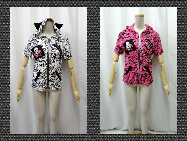 【楽天市場】ゴスパンク V系 ゴシック 猫耳 パーカー スカル 総柄 ジップ装飾 半袖 2色:PARROT