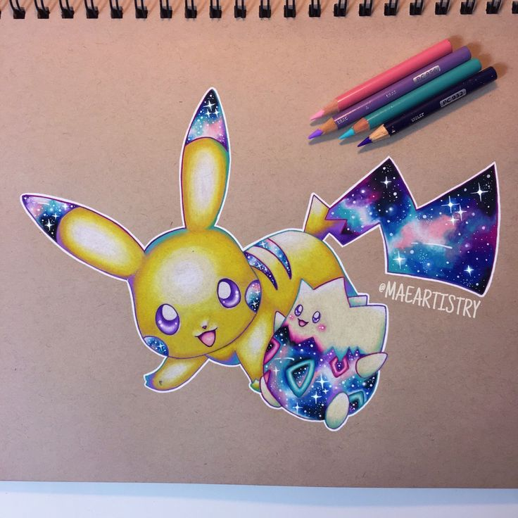 Here's a Pikachu Togepi Galaxy drawing I did ✨ ________ ‣ instagram.com/maeartistry