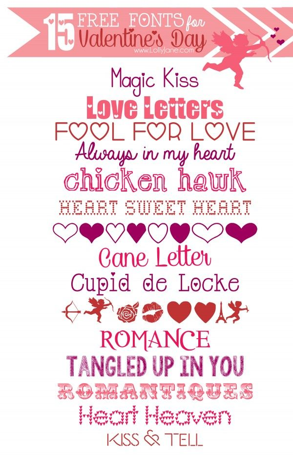15 FREE Valentine's Day fonts. So much fun for your Valentine's Day design projects.
