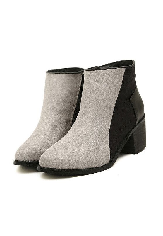 Black & Grey Contrast Faux Suede Ankle Boots #MYTRENDTWOWARDROBE